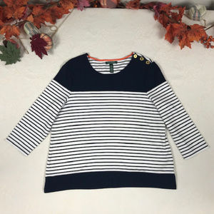 Ralph Lauren Navy & White Striped Shirt sz XL